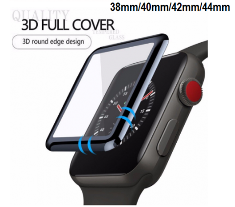 Compatible iWatch 3D Full Screen Tempered Glass - 38mm/40mm/42mm/44mm (Black)